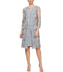 alex evenings petite layered-look embroidered jacket dress