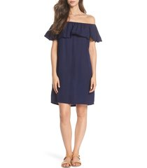 women's tommy bahama off the shoulder cover-up dress, size medium - blue