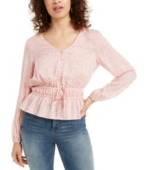 planet gold juniors' floral-print jacquard drawstring blouse