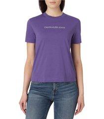 camiseta de algodón orgánico con logo fucsia calvin klein