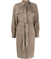 brunello cucinelli point-collar tie-waist trench coat - grey