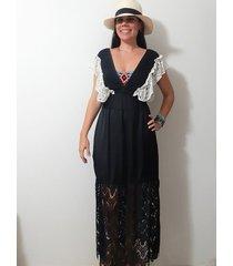 vestido- con boleros de encaje passion for the sun para mujer - negro