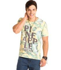 camiseta masculina pineappple total sublimada - area verde - multicolorido - masculino - dafiti