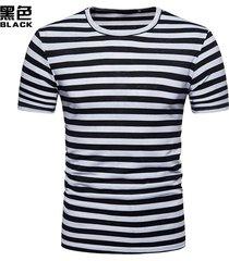 camiseta a rayas de hombre tops hombre primavera y verano pullover delgado