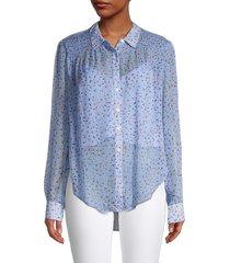 veronica beard women's dazed floral silk shirt - blue - size 4