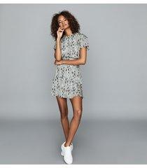 reiss bethan - ditsy print mini dress in blue, womens, size 14