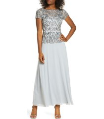 women's pisarro nights beaded mesh mock two-piece gown, size 2 - blue