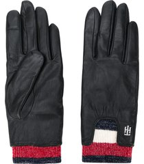 tommy hilfiger signature rib cuff gloves - black