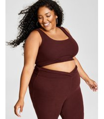 nina parker trendy plus size hacci ribbed bralette, created for macy's