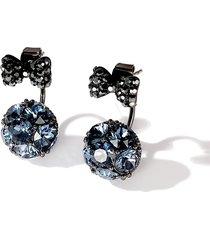 donna orecchini a chiodo in 325 sterling argento di nodo di farfalla e pallino pieni di strass e zircone com regalo