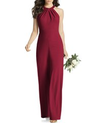 women's dessy collection allison stretch crepe jumpsuit, size xx-small - burgundy