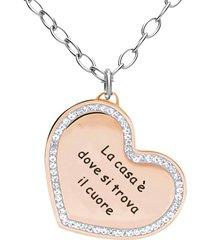 collana in acciaio ciondolo cuore rosato con strass per donna