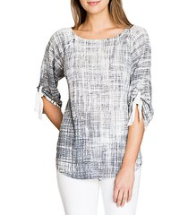 network ruched sleeve top