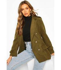 double breasted military wool look coat, khaki
