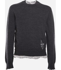 maison margiela wool sweater with contrasting insert