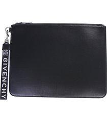 givenchy designer men's bags, black canvas clutch w/detachable signature wristlet