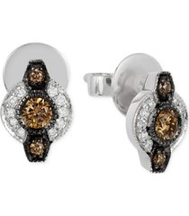 le vian chocolatier chocolate deco estate diamond (6- 18 ct. t.w.) stud earrings in 14k white gold