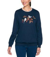 alfred dunner petite bird-embroidered studded sweatshirt