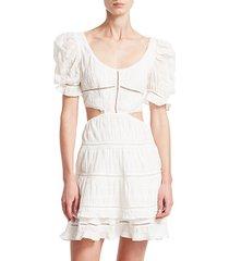 lace combo cut out mini a-line dress