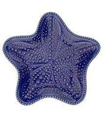 conjunto de 4 pratos estrela ocean em cerâmica - azul