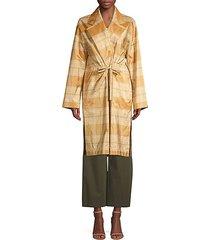 vincenza silk plaid topper coat
