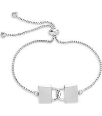 rhodium-plated & cubic zirconia interlocking lock bolo bracelet