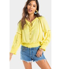 amellia embroidered smocked blouse - yellow