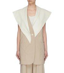 detachable leather scarf wool vest