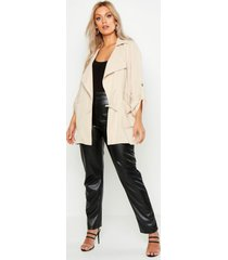 plus waterfall ruched utility jacket, stone