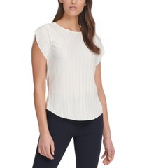 dkny pleated flutter-sleeve top