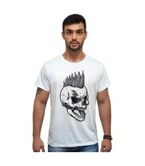 camiseta algodáo penteado estampa caveira punk mah cm01 branca