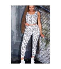 sexy 2-piece set broek met zakken + cropped top wit