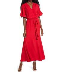 women's fraiche by j ruffle sleeve faux wrap dress, size medium - red