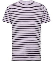 cotton t-shirt with large distance stripe t-shirts short-sleeved lila revolution