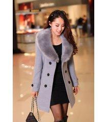 new womens wool blend jacket slim trench coat huge faux fur outwear