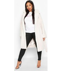 plus supersoft belted faux fur longline coat, cream