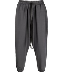 alchemy elasticated drop-crotch trousers - grey