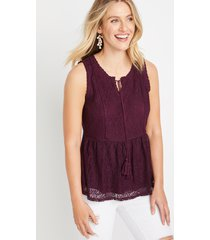 maurices womens purple lace babydoll tank top