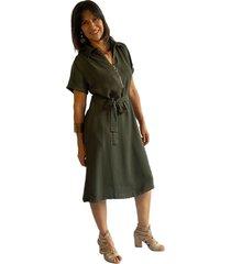 vestido corto camisero chalis verde plica