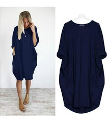 s-5xl verano vestido suelto midi de bolsillo mujeres diseño básico-azul