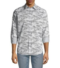 robert graham men's classic-fit graphic shirt - grey - size s