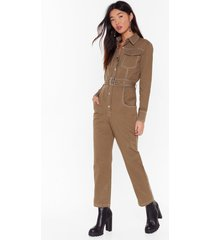 womens bring stitch on denim belted boilersuit - khaki