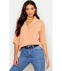 revere collar oversized shirt, camel