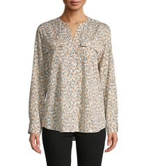 calvin klein women's floral split neck top - papaya - size xs