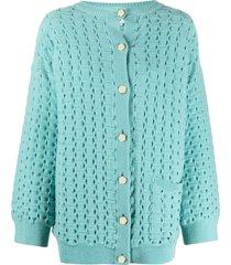 ami amalia honeycomb-knit merino wool cardigan - green