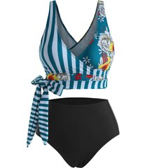 striped panel floral side boning surplice tankini swimwear
