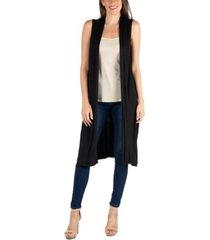 24seven comfort apparel sleeveless long cardigan vest with side slit