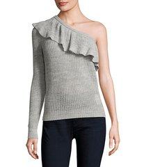 one-shoulder ruffle sweater