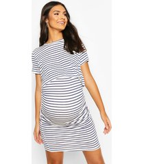 zwangerschap gestreepte borstvoeding jurk, navy