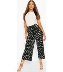 polka dot plisse longer length culottes, black